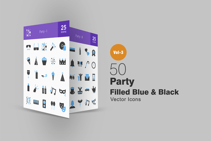Thumbnail for 50 Party Blue & Black Icons