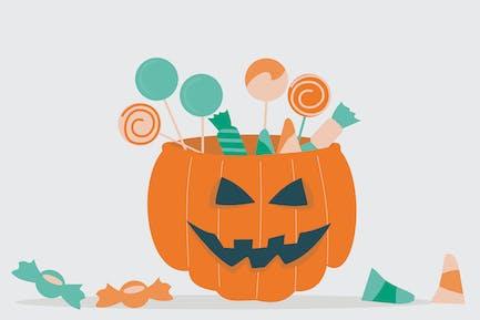 Jack-o-lantern filled with treats