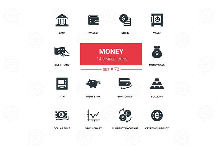 Thumbnail for Money - flat design silhouette icons set