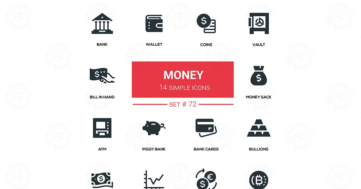 Download Money - flat design silhouette icons set by BoykoPictures