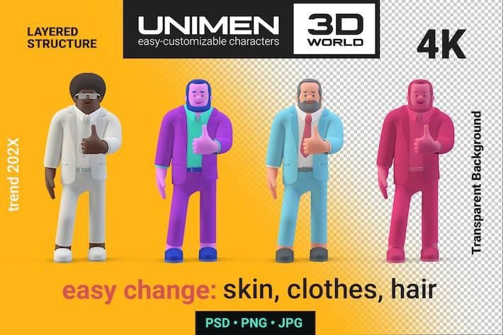 Geschäftsmann zeigt wie Ok Symbol 3D Charakter Man