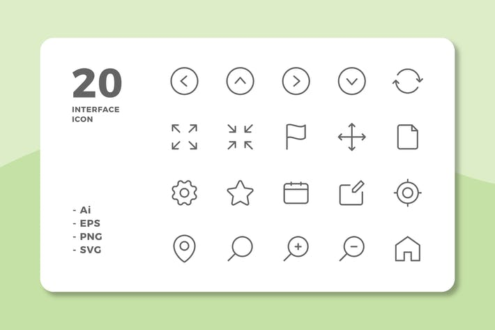 Thumbnail for 20 Interface Icons Vol.1 (Line)