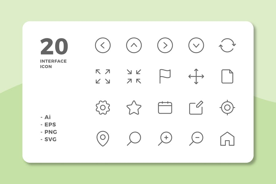 20 Interface Icons Vol.1 (Line)
