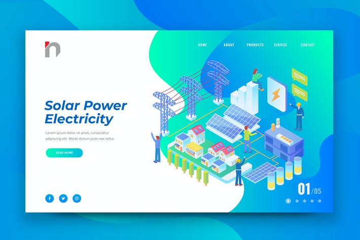 Thumbnail for Isometric Solar Power Plant Web PSD and AI Vector