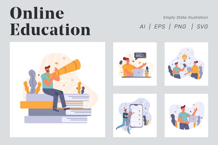 Thumbnail for Online Education Illustration for Empty state