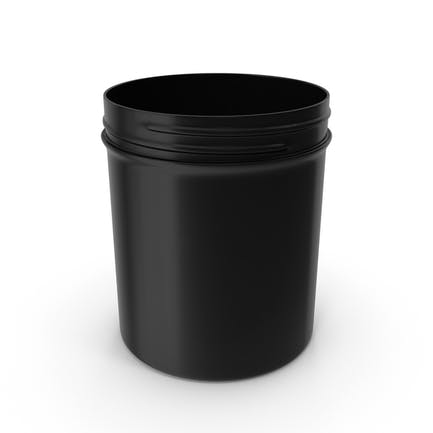 Black Plastic Jar Wide Mouth Straight Sided 16oz Without Cap