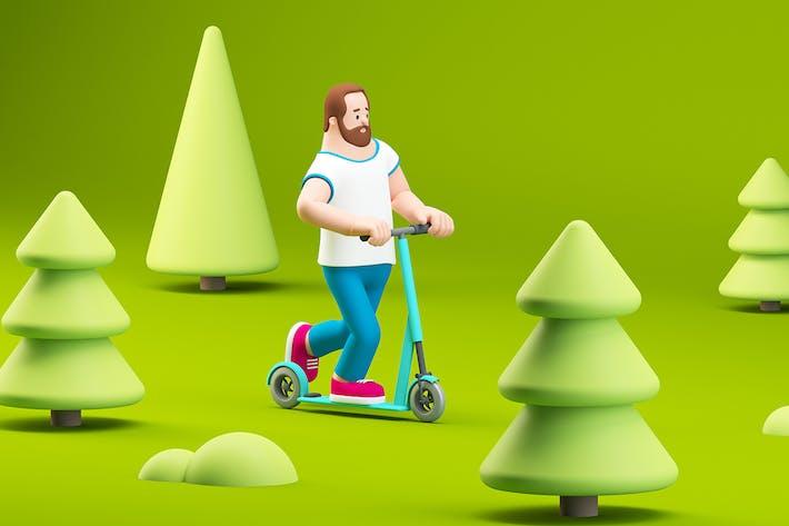 Mann mit Elektrofahrrad im grünen Naturpark