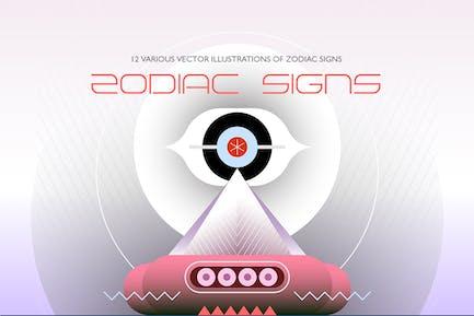 12 Zodiac Sign vector illustrations