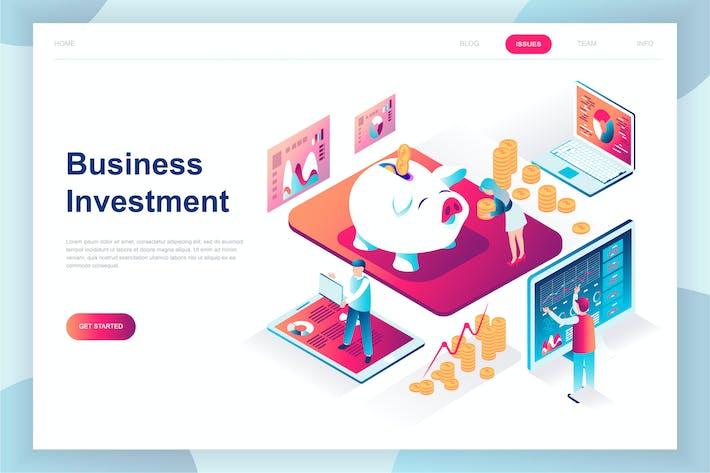 Thumbnail for Инвестиционная изометрическая посадочная страница бизнеса