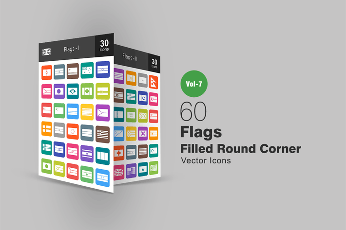 Thumbnail for 60 Flags Filled Round Corner Icons