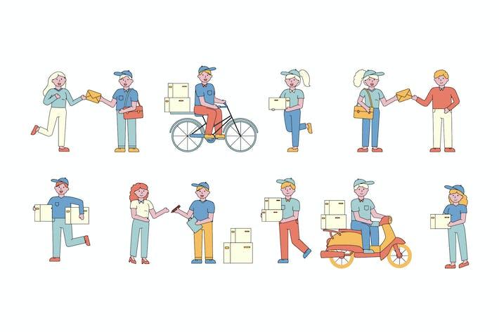Thumbnail for Postversand Lineart People Character Sammlung