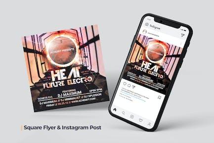 Futuristic Electro Flyer & Social Post
