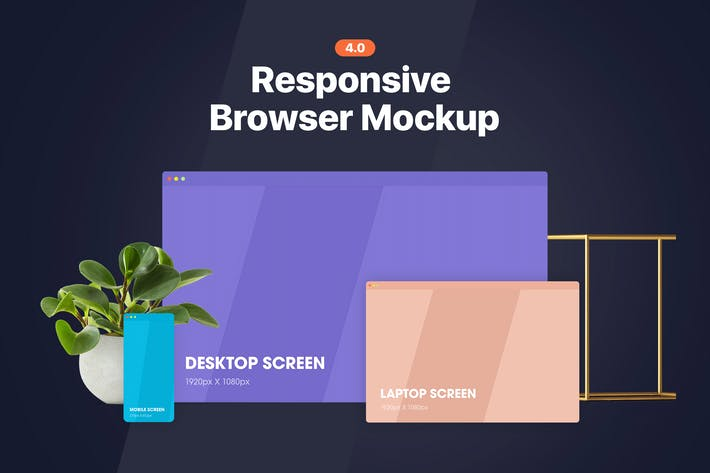Thumbnail for Responsive Browser Mockup 4.0