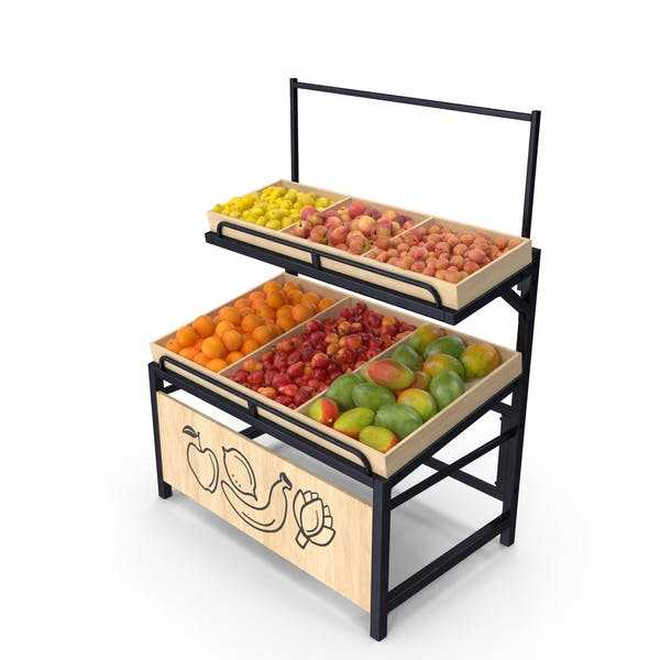 Wooden Display Rack with Fruits Without Tag
