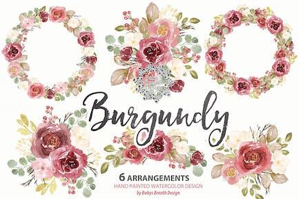 Burgundy floral arrangements