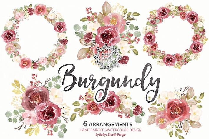 Cover Image For Burgundy floral arrangements