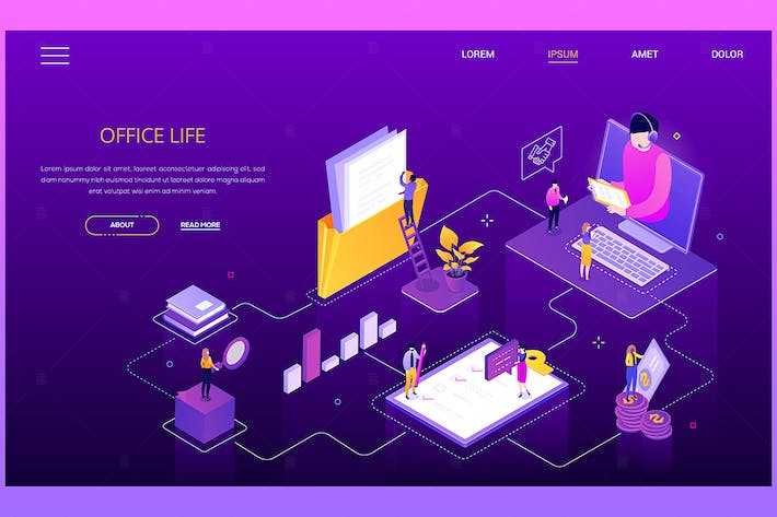 Thumbnail for Office life - modern colorful isometric web banner