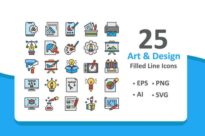 Thumbnail for Art and Design Icons - Filled Line