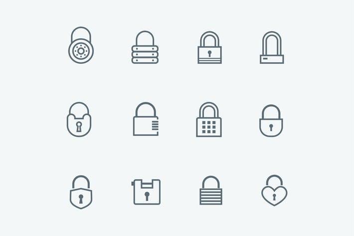 12 Padlock and Security Icons