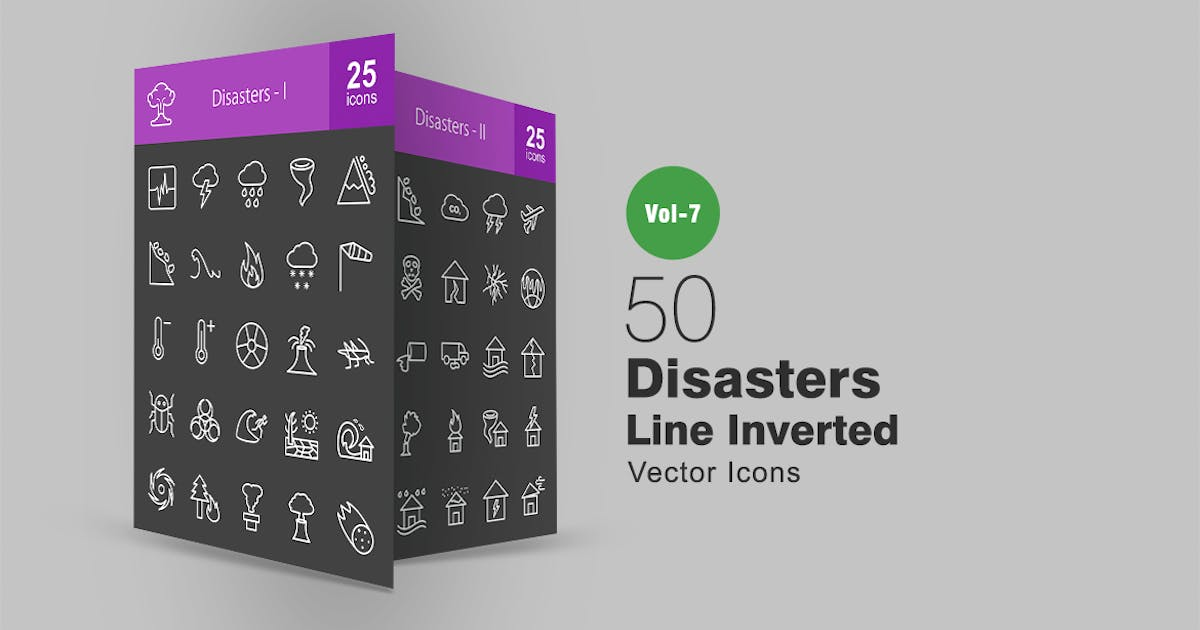 Download 50 Disasters Line Inverted Icons by IconBunny
