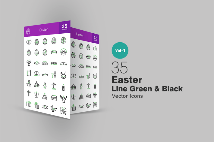 Cover Image For 35 Easter Line Green & Black Icons