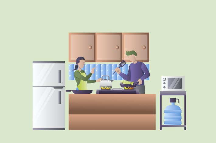 Thumbnail for Husband and Wife Cooking - Activity Illustration