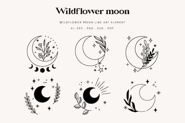 Wildflower Boho Moon Illustration