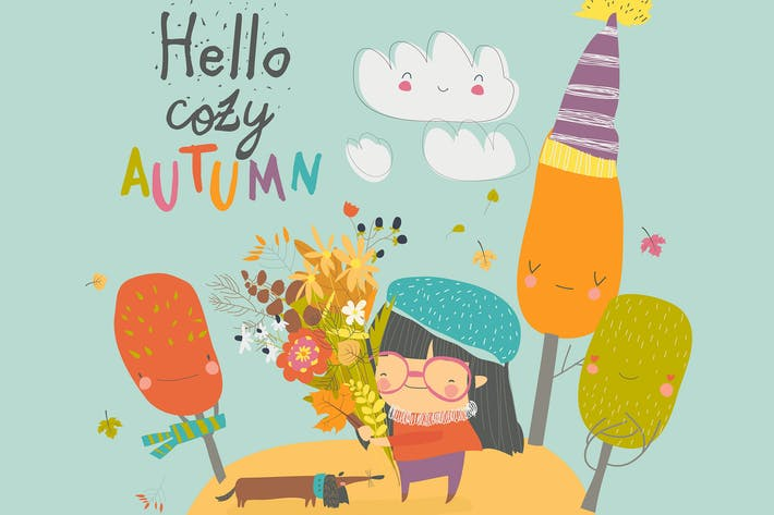 Thumbnail for Happy cute girl holding autumn bouquet. Vector