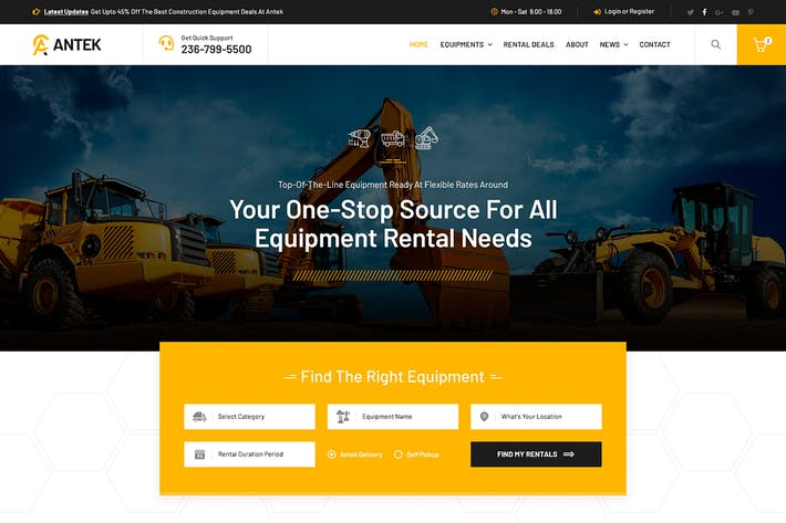 Thumbnail for Antek - Construction Equipment Rental PSD