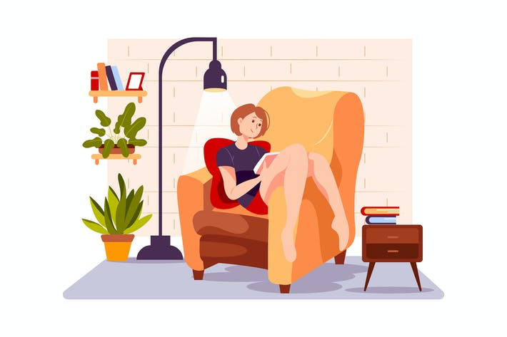 Thumbnail for The girl is reading novel on the couch