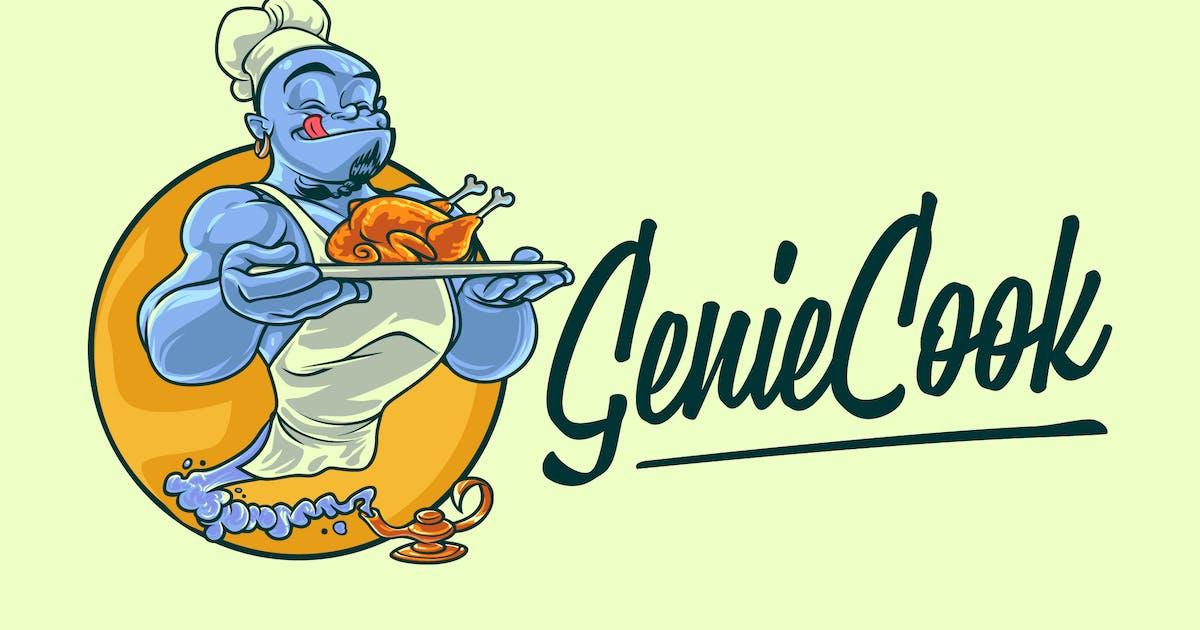 Download Cartoon Chef Genie Serving Food Mascot Logo by Suhandi
