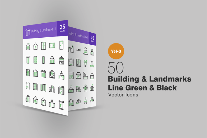 Thumbnail for 50 Buildings & Landmarks Line Green & Black Icons
