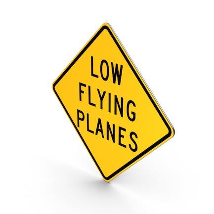 Straßenschild mit niedrigen fliegenden Flugzeugen