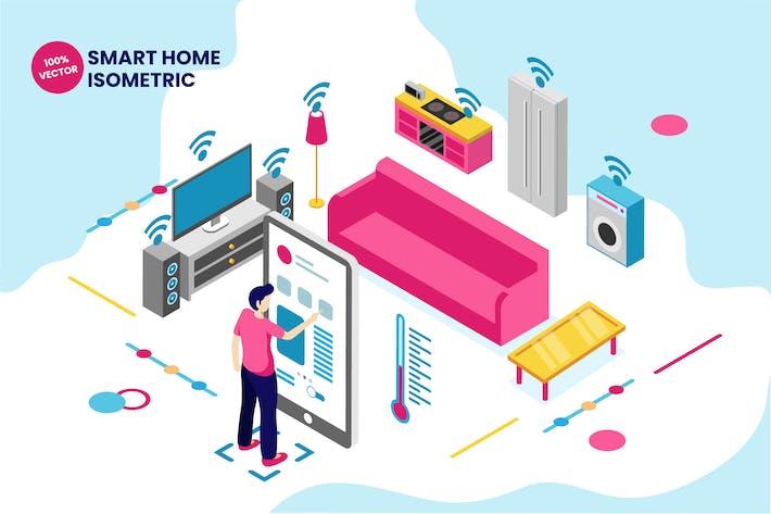Thumbnail for Isometric Smart Home Vector Illustration