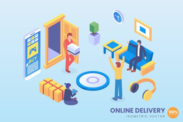 Thumbnail for Isometric Online Delivery Vector Concept
