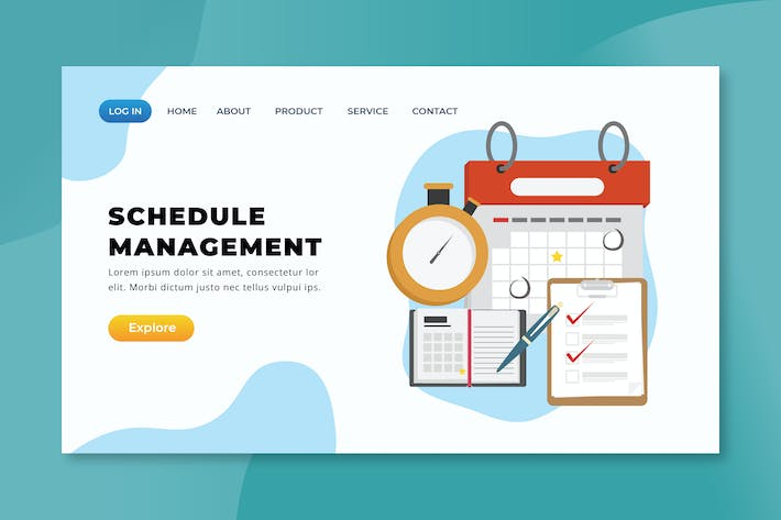 Thumbnail for Schedule Management - XD PSD AI Landing Page