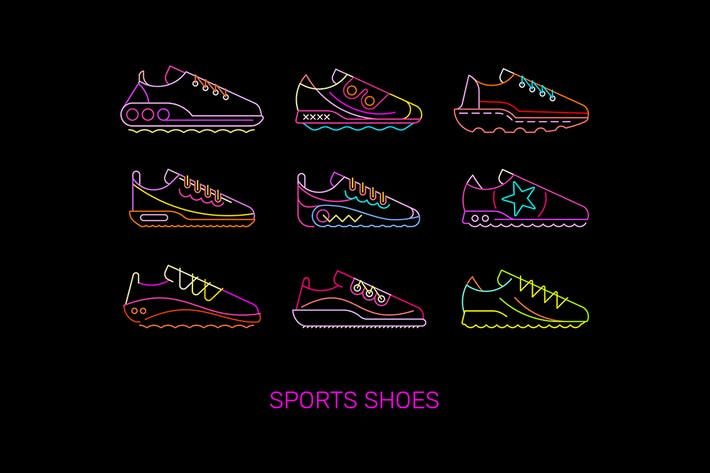 Thumbnail for Sports Shoes Vector Icon Set