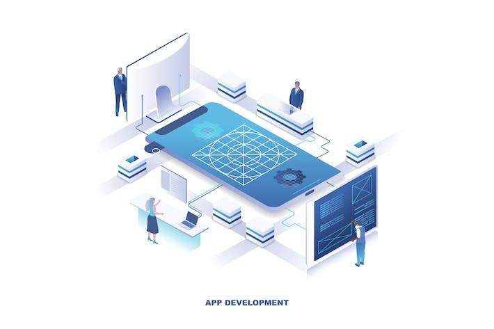 Thumbnail for App Development Isometric Banner Flat Concept