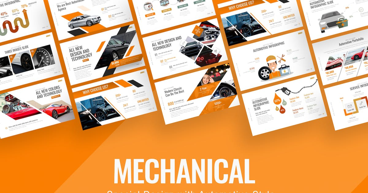 Download Mechanical Automotive Presentation Template by BrandEarth