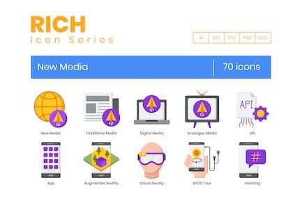 70 neue Medien Icons - Rich Series
