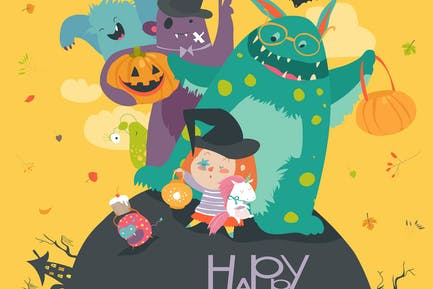 Cute girl with funny monsters. Halloween party.