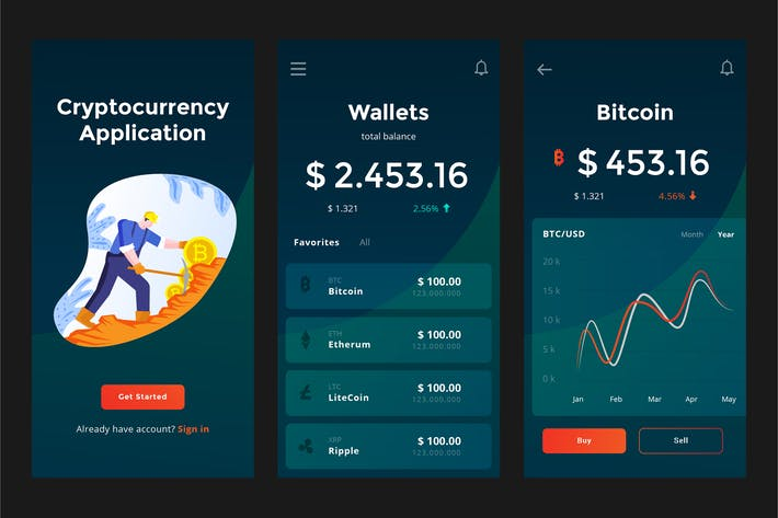 Mobile Cryptocurrency Wallet Apps PSD and AI