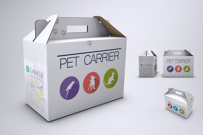 Pet Carrier Cardboard Box Mock-Up