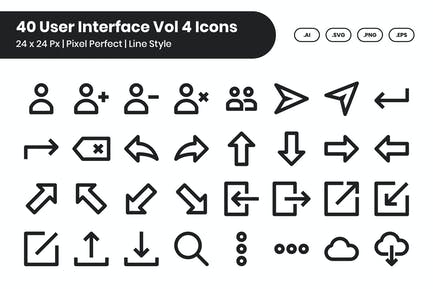40 User Interface Vol 4 Icons Set - Line