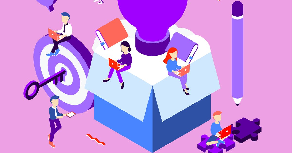 Download Think Outside the Box Isometric Illustration by angelbi88