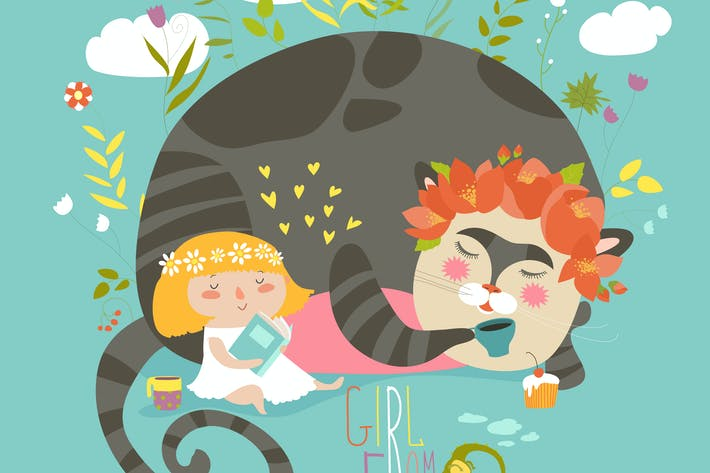 Cute girl reading book for magic cat. Vector