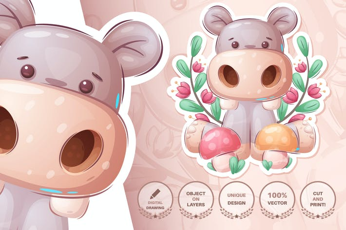 Thumbnail for Hippo with mushrooms - seamless pattern