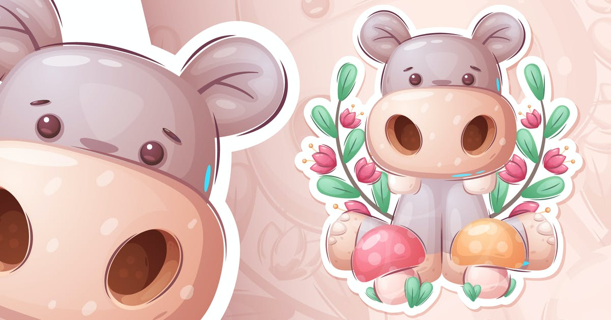 Download Hippo with mushrooms - seamless pattern by rwgusev