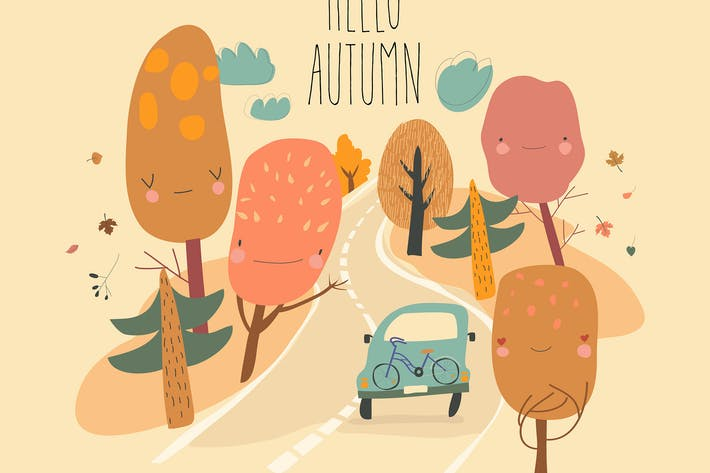 Thumbnail for Car is driving on the road through autumn forest.
