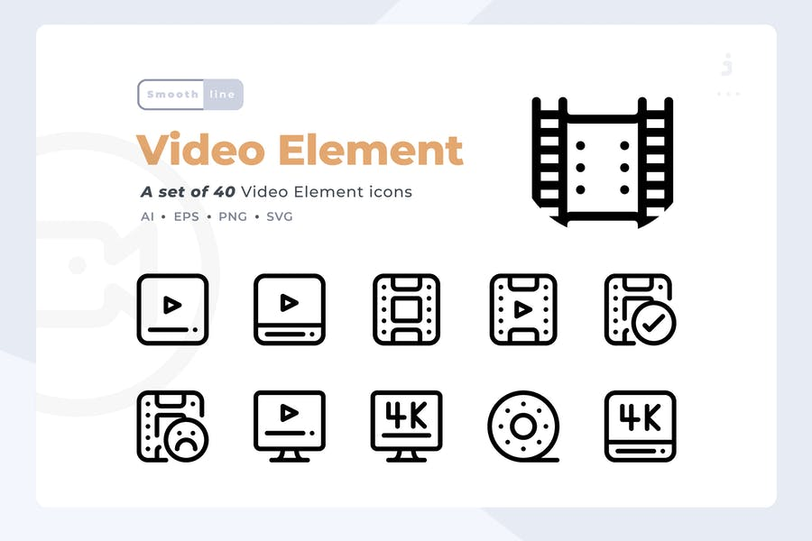 Smoothline - 40 Video Element icon set